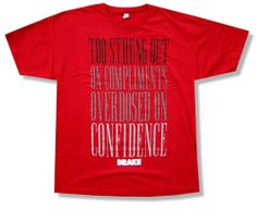 "DRAKE ""CONFIDENCE"" RED SLIM FIT T-SHIRT HEADLINES LYRICS NEW RAPPER OFFICIAL"