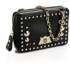Juicy Couture Tough Girl Studded Leather Wristlet ($128) ❤ liked on Polyvore