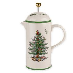 Spode Christmas Tree Dinnerware, Cafetiere/French Press Coffee Pot, H: L: W: Electric Coffee Maker, Pour Over Coffee Maker, Pod Coffee Makers, French Press Coffee Maker, Coffee Lovers, Christmas China, Spode Christmas Tree, Christmas Tree Pattern, Christmas Dishes