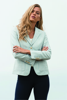 A contemporary pale blue and white pinstripe blazer so you can bring nautical beach vibes to work with you. A smart update for your spring wardrobe.