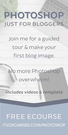 Would you love to play with Photoshop, but don't know where to start? Join me for a guided tour and make your first blog image (free template and videos included). If you've always wanted to learn Photoshop, this course is a perfect, gentle introduction.