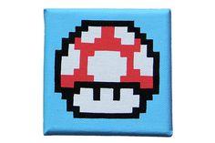 Nintendo Super Mario 8 bit mushroom painting on canvas