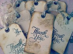 Wedding Thank you Tags  Favor Tag Thank you Cards by ShabbyScrap, $2.00
