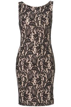Sleeveless Bonded Lace Pencil Dress