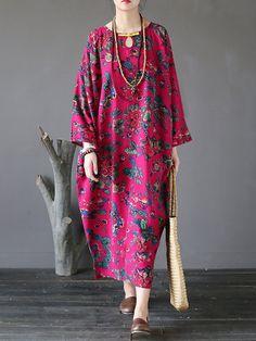 Gracila Floral Printed Vintage Maxi Dreses