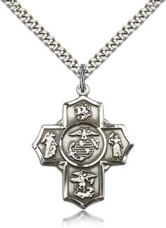 US Marine Corps 5-Way Military Sterling Silver Cross Medal Necklace by Bliss