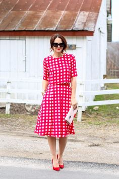 Modest Red Checked Outfit