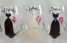 PERSONALIZED BRIDESMAID GLASSES – Hand Painted to replicate YOUR EXACT details of your wedding gown, bridesmaid dresses, tuxes flowers and other details of your wedding {www.samdesigns.net} $18 ea.