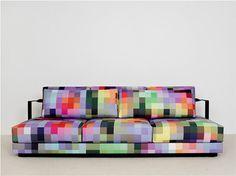 pixels couch purple green sofa for living room design Funky Furniture, Design Furniture, Colorful Furniture, Home Decor Furniture, Furniture Sets, Sofa Furniture, Sofa Design, Interior Design, Sofa Colors