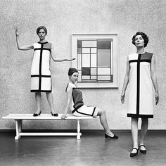 Yves Saint Laurent's De Stijl collection in front of a Piet #Mondrian #composition - 1966