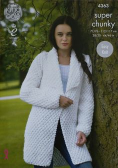 K4363 Ladies EASY KNIT Long Sleeve Long Moss Stitch Coat with Collar Knitting Pattern Super Chunky (Super Bulky) King Cole