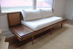Danish-style two-seater platform sofa — beautifully restored walnut frame with attached floating end tables and immaculate caning. Reupholstered in oatmeal pebble weave, back cushions are slipcover. Mid Century Couch, Retro Sofa, Danish Style, Slipcovers, End Tables, Platform, Cushions, Weave, Oatmeal