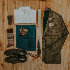 grooms attire flat lay // Wes Anderson style // hipster victorian