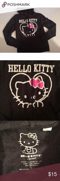 Hello Kitty Dark Gray Zip Up Hoodie Sweatshirt This Sweatshirt is in great condition and super comfy! Worn only a few times. Size large Hello Kitty Shirts & Tops Sweatshirts & Hoodies