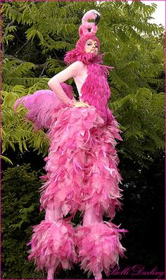we should have people on stilts as different circus animals Costumes Burlesques, Animal Costumes, Halloween Costumes, Stilt Costume, Bird Costume, Pink Bird, Everything Pink, Loose Hairstyles, Pink Flamingos