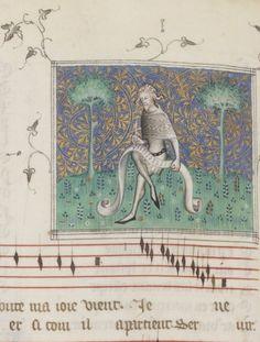 demonagerie:    Bibliothèque nationale de France, Français 1586, f. 47v (Machaut writing). Guillaume de Machaut, Le remède de fortune (The Cure of Ill Fortune). Paris, c.1350-1355.