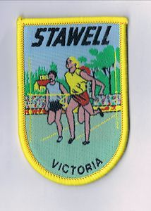 Cloth Badge of Stawell in Victoria, Australia. Features the famous 'Stawell Gift' foot race. Sold for $20.00.