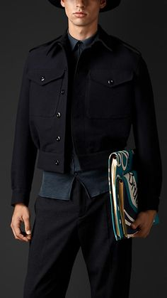 Burberry Prorsum Ink Cashmere Twill Bomber Jacket - A bomber jacket in cashmere twill. The softly tailored jacket features dropped shoulders and pleats at the waist. Oversize epaulettes, a hook collar closure and flap pockets reference heritage designs. Discover the men's outerwear collection at Burberry.com
