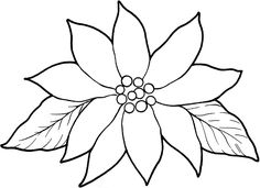 Poinsettia Coloring Page. Use for tissue paper art project during Mexico Christmas unit. Christmas Poinsettia, Christmas Flowers, Christmas Colors, Christmas Art, Crochet Christmas, Christmas Angels, Christmas Stencils, Christmas Stuff, Flower Doodles