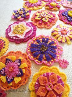 Embroidered felt flower pillow by Lynda Creates