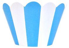 Cupcake Wrapper 20pcs Striped Baby Blue