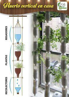 Jardim vertical com garrafa PET - Diversas ideias Home Vegetable Garden, Herb Garden, Indoor Garden, Indoor Plants, Garden Plants, Garden Tools, Vertical Garden Design, Hanging Plant Wall, Bottle Garden