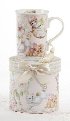 Gift Boxed Porcelain Mug with Tassle - Playful Cats