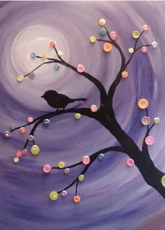 Paint the button tree! Join the Paint and Party Virtual Paint Club to learn to paint the Button Tree! Button Tree Art, Button Art, Button Crafts, Diy And Crafts, Crafts For Kids, Arts And Crafts, Paper Crafts, Craft Night, Diy Canvas