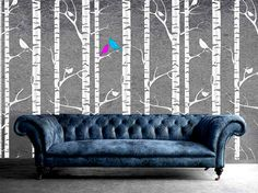 For the bathroom, maybe? Wallpaper Stencil Tree Forest Branches birds Designer Pattern for Walls Decor better than Vinyl Decal
