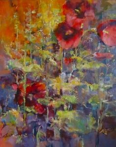 "Joan Fullerton Paintings: Contemporary Abstract Botanical Floral Painting ""Glorious Summer"" by Intuitive Artist Joan Fullerton"