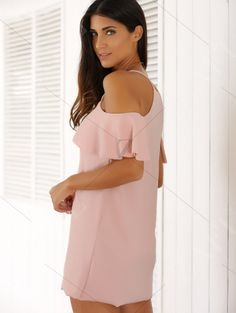 Spaghetti Straps Cold Shoulder Mini Dress - PINK S Mobile