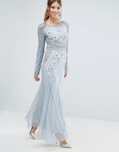 Frock and Frill Long Sleeved Embellished Maxi Dress