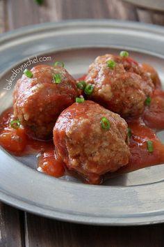Slow Cooker Mango Meatball Recipe from bakedbyrachel.com