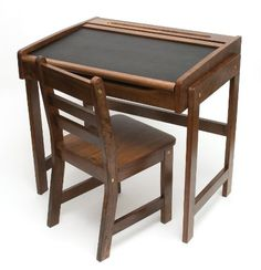 Lipper International Child's Desk with Chalkboard Top and Chair Set, Walnut for $110.00