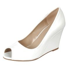 Women's Mata Shoes Mata Women's Patent Leather Peep-Toe Wedge Joyful... ($25) ❤ liked on Polyvore featuring shoes, pumps, white, pumps & heels, patent pumps, wedge shoes, white patent leather shoes, peep toe wedge shoes and peep-toe pumps