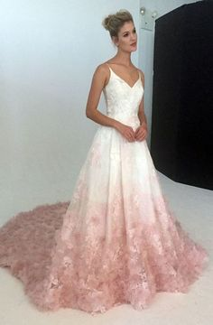 V-neck silk organza ball gown wedding dress with blush ombre floral ,367