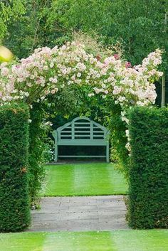 Meadow Farm,Worcestershire: A place to sit - yew hedges with lutyens bench beneath rose 'phyllis bide' trained as designs decorating interior interior design garden design Garden Arbor, Garden Landscaping, Garden Seat, Landscape Design, Garden Design, Garden Arches, Garden Spaces, Dream Garden, Hedges