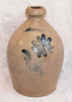 "Sold For $ 800  Salt glazed stoneware jug decorated with cobalt daisy, cobalt impressed mark, ""Wm. Moyer"", applied strap handle, Harrisburg, PA, late 1850s to 1860, 11 1/2""t.  Condition: no defects observed."