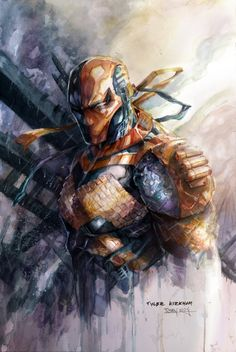 DeathStroke - Watercolor Print sold by Art of Tony Moy. Shop more products from Art of Tony Moy on Storenvy, the home of independent small businesses all over the world. Comic Book Characters, Comic Character, Comic Books Art, Comic Art, Dc Deathstroke, Deathstroke The Terminator, Deathstroke Cosplay, Comic Villains, Arte Dc Comics