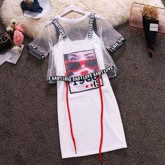 Beach Casual Women Suits Mesh Perspective Short Tops+Letter Spaghetti Strap Printed Pattern Mini T-Shirts Dress Sets Girls Fashion Clothes, Teen Fashion Outfits, Swag Outfits, Retro Outfits, Outfits For Teens, Trendy Outfits, Fashion Mode, Korean Fashion, Girl Fashion