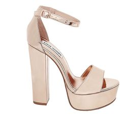 Steve Madden Gonzo Heels ($90) ❤ liked on Polyvore featuring shoes, pumps, rose gold, high heel sandals, high heel shoes, ankle wrap sandals, platform sandals and ankle strap platform sandals