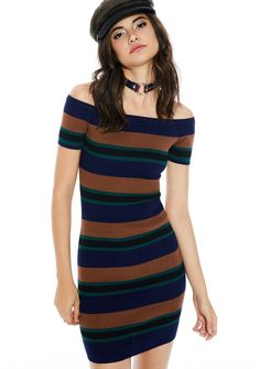 Rumours Off-Shoulder Dress cuz we're dreamin' of calmer days, babe. Features a curve huggin' rib knit construction, off-the-shoulder cut, and retro stripe patterning.