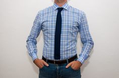 For a Smart-Casual Look try a Marchetti Light Blue Check Shirt and a blue tie. More then 100 Check shirting fabric at: http://www.marchettiatelier.com/prodotto/camicia/