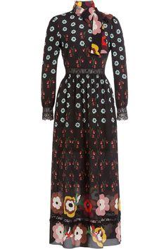 R.E.D. Valentino - Printed Silk Chiffon Dress with Lace
