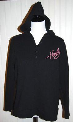 Harley Davidson Women's 1W Pink Label Hooded Black Long SLeeve Thermal Shirt #HarleyDavidson #HoodedThermal