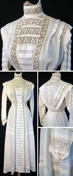 "Dress, early 1900s. Silk with satin thread embroidered in circles & dots. Front has full-length lace & pleated panel from high boned collar to hem. Net embroidered with flowers & leaves. Front panel & sleeves have rows of 3/4"" wide pleats and pleats that overhang shoulders. Dress has silk-covered buttons at top bodice, waist, and cuffs, as well as 10 covered buttons down back. Hook closures in back. Skirt has pintuck pleats & 1/4"" pleat. dogwood248/ebay"