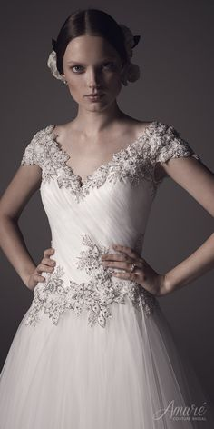 """Close-up of our Gown of the Week, @amarecouture """"Adriana"""". Click image to see the details!   #bridal #wedding #weddingdress #weddinggown #bridalgown #dreamgown #dreamdress #engaged #inspiration #bridalinspiration #beautiful #weddinginspiration #gownoftheweek #ballgown #weddingdresses #amarecouture"""