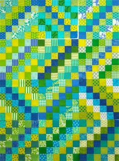 SpringLeaf Studios: Scrappy Trip Tips Modern Quilt Patterns, Modern Quilting, Postage Stamp Quilt, Paper Quilt, Bargello Quilts, Nine Patch Quilt, Green Quilt, Contemporary Quilts, English Paper Piecing