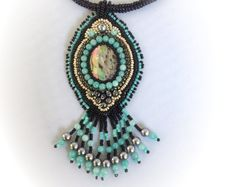 Paua shell cabochon and turquoise bead embroidered pendant necklace