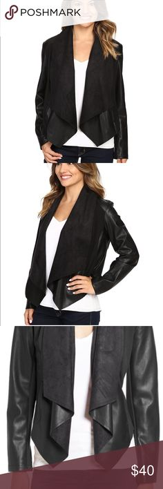 Faux Leather Drape Front Jacket The alluring charm of this jacket is a perfect match for yours.   PRODUCT INFORMATION: Smooth ponte body with faux0leather sleeves and details. Open front design with cascading placket. Structured seaming. Long-sleeve coverage. Cropped hem with a draped front. 55% PU, 45% rayon; Contrast: 62% rayon, 32% polyester, 6% spandex. Machine wash cold, tumble dry low. Imported. Measurements: Length: 18 in Product measurements were taken using size PXS. Please note…